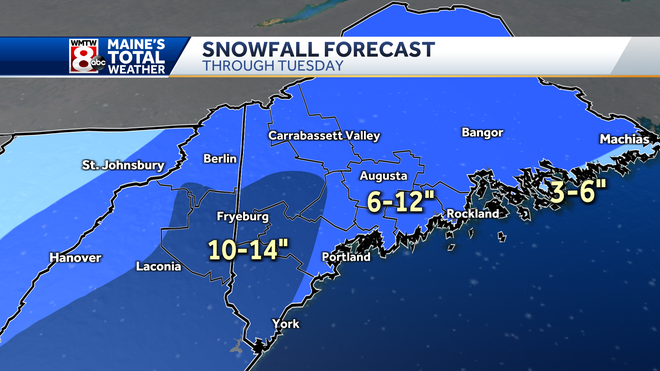 Update nor'easter snowfall map