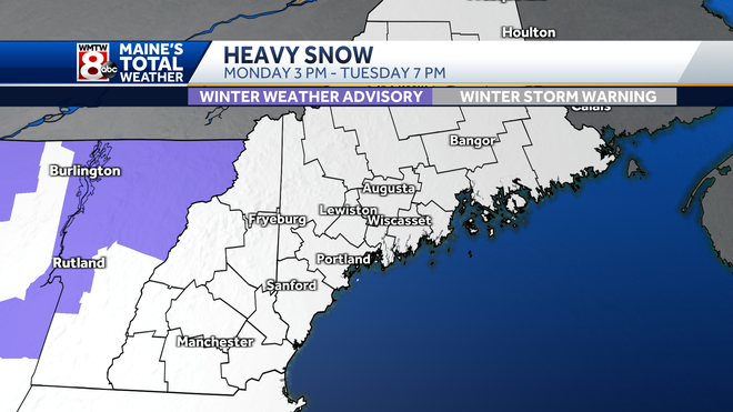 Winter Storm Warning map for Monday Tuesday