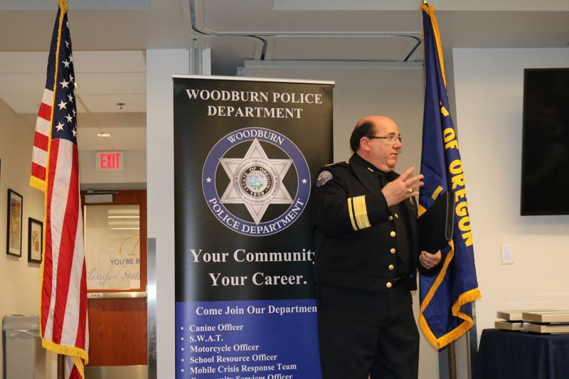 COURTESY PHOTO: WOODBURN POLICE DEPARTMENT - Former Woodburn Police Chief Jim Ferraris addresses an audience in 2019.